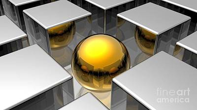 Surrealism Royalty-Free and Rights-Managed Images - 3D Golden Sphere Ball In Between Silver Cubes Squares Ultra HD by Hi Res