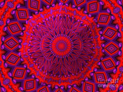 Digital Art - 3d Look Indian Blanket Fractal Abstract by Rose Santuci-Sofranko