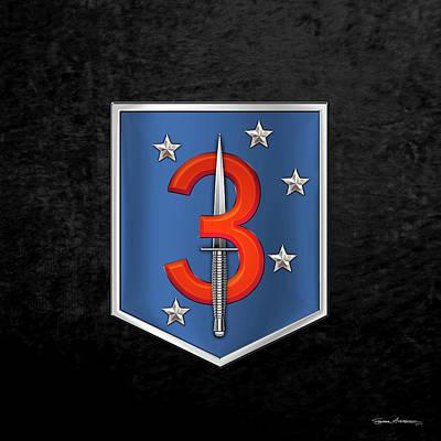 Digital Art - 3d Marine Raider Battalion - 3d Marine Special Operations Battalion M S O B  Patch Over Black Velvet by Serge Averbukh