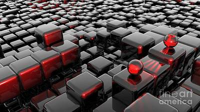 Surrealism Digital Art Rights Managed Images - 3D Red Cubes Abstract Pattern Ultra HD Royalty-Free Image by Hi Res
