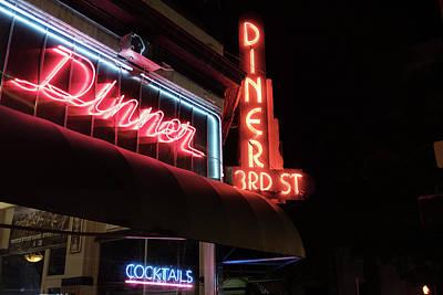Photograph - 3rd Street Diner Night Lights by Doug Ash