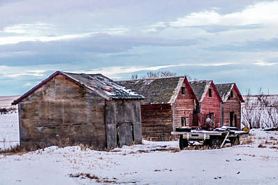 Photograph - A Sign Of The Times, Run Diown Farm Out Buildings And Barns, Alb by David Butler