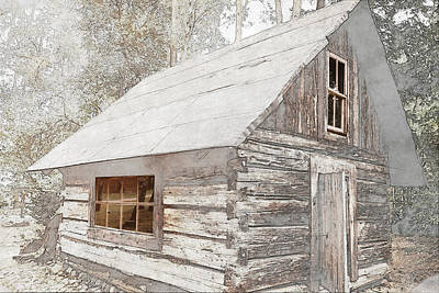 Water Droplets Sharon Johnstone - Abandoned old wooden house Cabin in the woods by Robert Chlopas