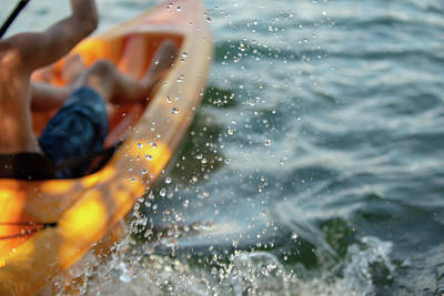 Photograph - Abstract Kayak Action On A Mountain Lake  by Alex Grichenko