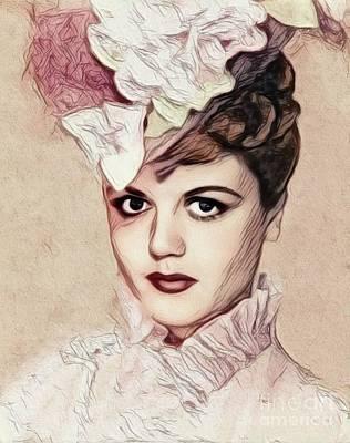 Digital Art Royalty Free Images - Angela Lansbury, Vintage Actress Royalty-Free Image by John Springfield