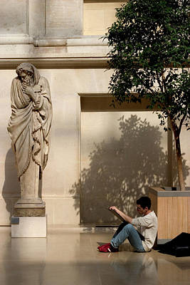 Wall Art - Photograph - Art Student In Louvre by Carl Purcell
