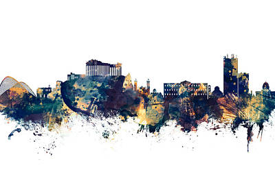 Digital Art - Athens Greece Skyline by Michael Tompsett