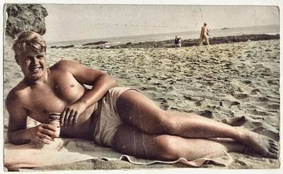 Colorful Button - Beach Life of Youth 1900 - 1950 - 064 colorized by Ahmet Asar by Ahmet Asar