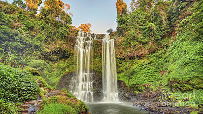 Tool Paintings - Beautiful waterfall hidden in the tropical jungles panorama by MotHaiBaPhoto Prints