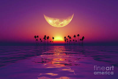 Royalty-Free and Rights-Managed Images - Big Moon Over Purple Sunset by Aleksey Tugolukov
