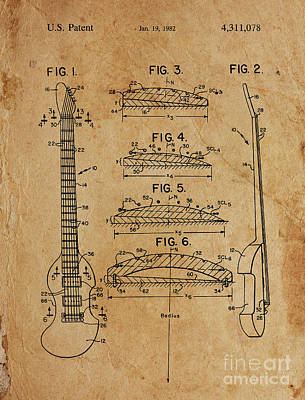 Musicians Drawings - BOW PLAYABLE GUITAR Patent Year 1982 by Drawspots Illustrations
