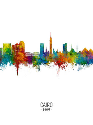 Digital Art - Cairo Egypt Skyline by Michael Tompsett