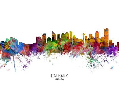 Digital Art - Calgary Canada Skyline by Michael Tompsett