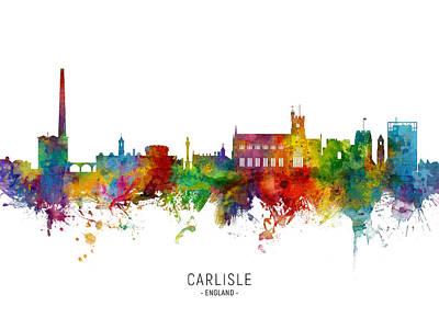 Digital Art - Carlisle England Skyline by Michael Tompsett