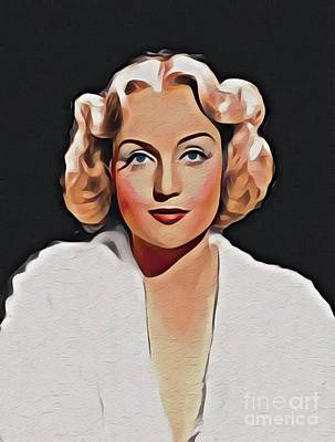 Digital Art Royalty Free Images - Carole Lombard, Vintage Movie Star Royalty-Free Image by John Springfield