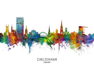 Digital Art - Cheltenham England Skyline by Michael Tompsett