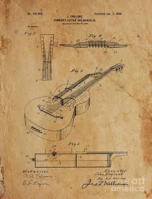 Musicians Drawings - COMBINED GUITAR AND MANDOLIN Patent Year 1899 by Drawspots Illustrations