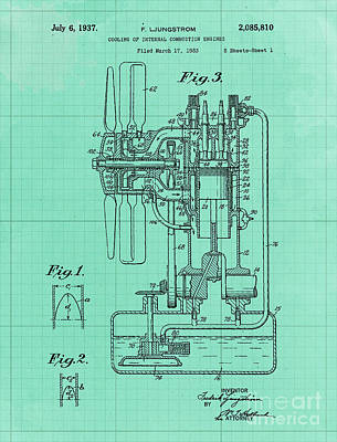 Royalty-Free and Rights-Managed Images - Cooling of Internal Combustion Engines Patent Year 1937 by Drawspots Illustrations