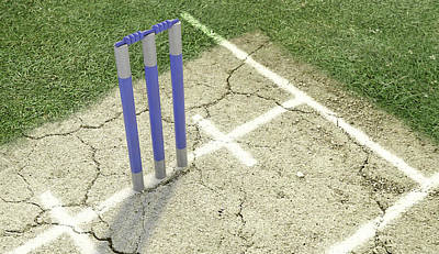 Digital Art - Cricket Pitch Ball And Wickets by Allan Swart