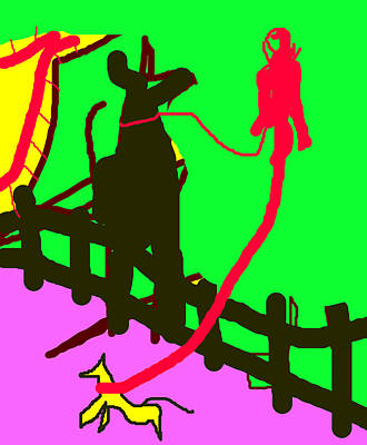 Digital Art - Dog Walker by Artist Dot