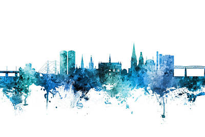 Digital Art - Dundee Scotland Skyline by Michael Tompsett