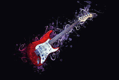Painting - Electric Guitar by Ian Mitchell