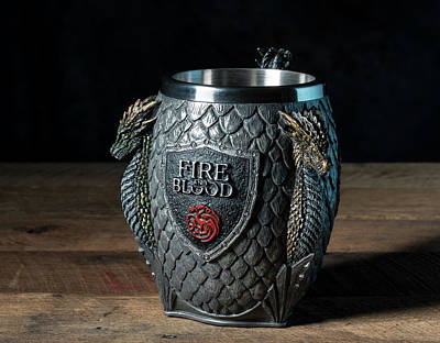 Photograph - Fire And Blood Tankard From Game Of Thrones Series by Steven Heap