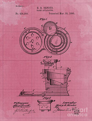 Royalty-Free and Rights-Managed Images - Game Apparatus Patent Year 1890 Original Artwork Home Decoration by Drawspots Illustrations
