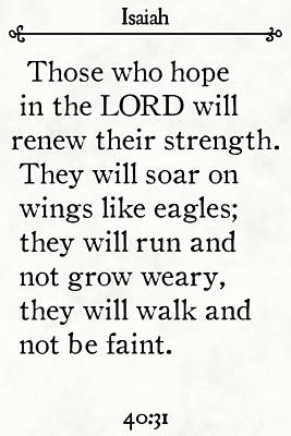 Painting - Isaiah 40 31- Inspirational Quotes Wall Art Collection by Mark Lawrence