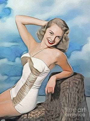 Digital Art Royalty Free Images - Janet Leigh, Vintage Movie Star Royalty-Free Image by John Springfield