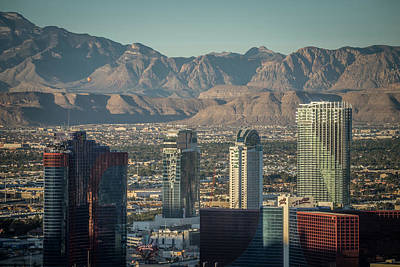 Soap Suds - Las vegas city surrounded by red rock mountains and valley of fi by Alex Grichenko