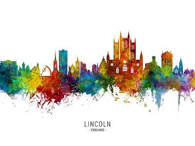 Digital Art - Lincoln England Skyline by Michael Tompsett