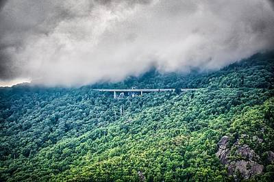 Photograph - linn cove viaduct and curvy winding roads in mountains of NC by Alex Grichenko