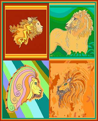 Drawing - 4 Lions by Julia Woodman