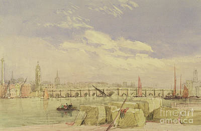 Painting - London Bridge by David Cox