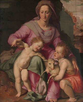 Painting - Madonna And Child With The Infant Saint John The Baptist by Santi di Tito