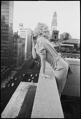 Standing Photograph - Marilyn On The Roof by Michael Ochs Archives