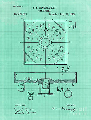 Royalty-Free and Rights-Managed Images - Mechanical Ball Game Patent Year 1892 Vintage Art Print by Drawspots Illustrations