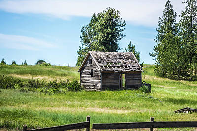 Photograph - Old Log Cabin On Ranch In The Mountains by Alex Grichenko