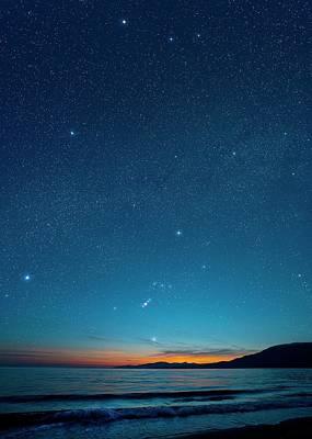 Photograph - Orion Over The Georgia Strait, Canada by David Nunuk