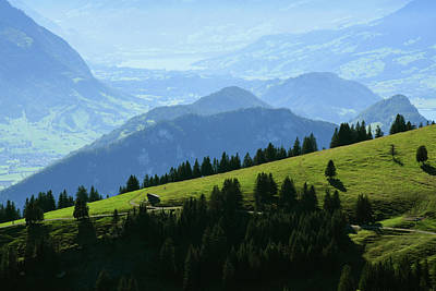 Animal Portraits - Panoramic landscape view from Rigi Kulm, Mount Rigi in Switzerland by Balazs Sebok
