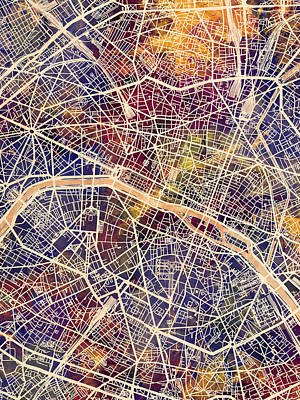 Digital Art - Paris France City Map by Michael Tompsett
