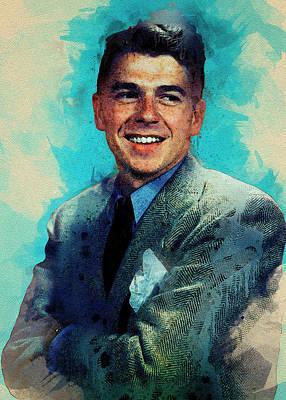 Outdoor Graphic Tees - Ronald Wilson Reagan by Elena Kosvincheva
