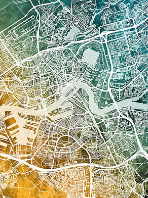 Digital Art - Rotterdam Netherlands City Map by Michael Tompsett