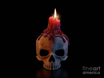 Digital Art Rights Managed Images - Skull And Melted Lit CAndle Royalty-Free Image by Allan Swart