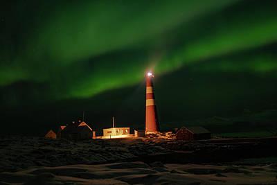 Photograph - Slettnes Lighthouse Under Aurora 4 by Arctic FineArt
