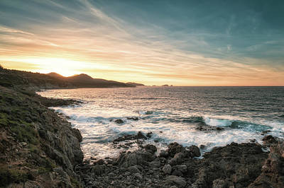 Kitchen Spices And Herbs - Sunset and rough sea on the coast of Corsica by Jon Ingall