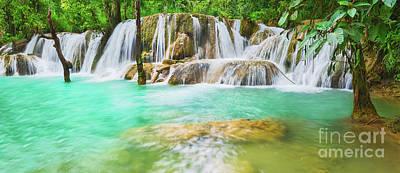 Holiday Pillows 2019 - Tat Sae Waterfalls. Beautiful landscape, Laos. Panorama by MotHaiBaPhoto Prints