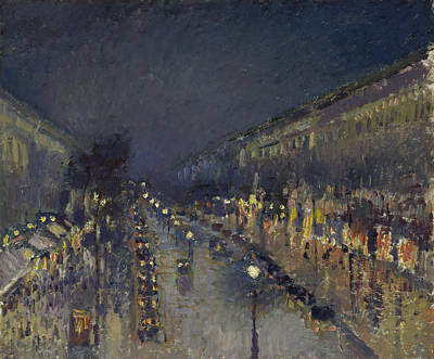 Painting - The Boulevard Montmartre At Night by Camille Pissarro