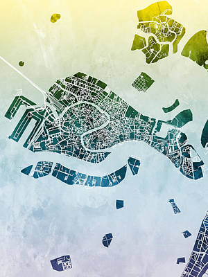 Digital Art - Venice Italy City Map by Michael Tompsett
